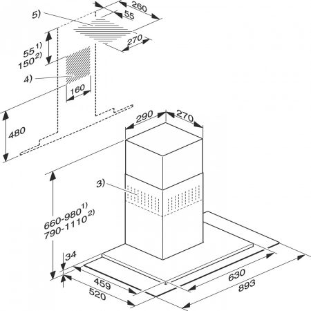 Настенная вытяжка Отвод воздуха/циркуляция Удобное для чистки покрытие CleanCover Пригодный для мытья в посудомоечной машине жироулавливающий фильтр из нерж. стали Светодиодное освещение Кнопки со светодиодной подсветкой Ширина - 90 см Скоростные режимы: 3+интенсивный Автоматическое отключение интенсивной ступени мощности
