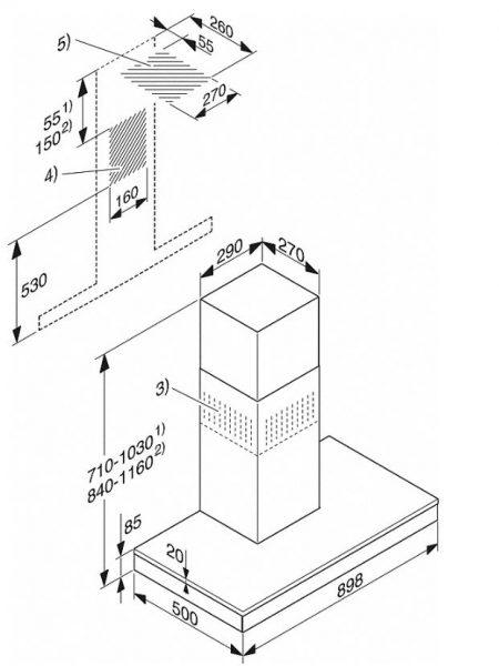 Вытяжка DA6698W сталь CleanSteel