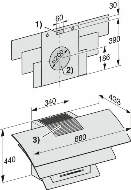 Вытяжка DA7198W GRGR графитовый серый